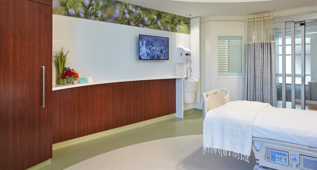 MetroHealth Critical Care Pavilion Patient Room Footwall